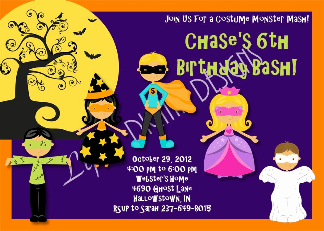 Halloween Costume Party Invitation Beautiful Halloween Birthday Party Invitations by Lifesdigitaldesigns