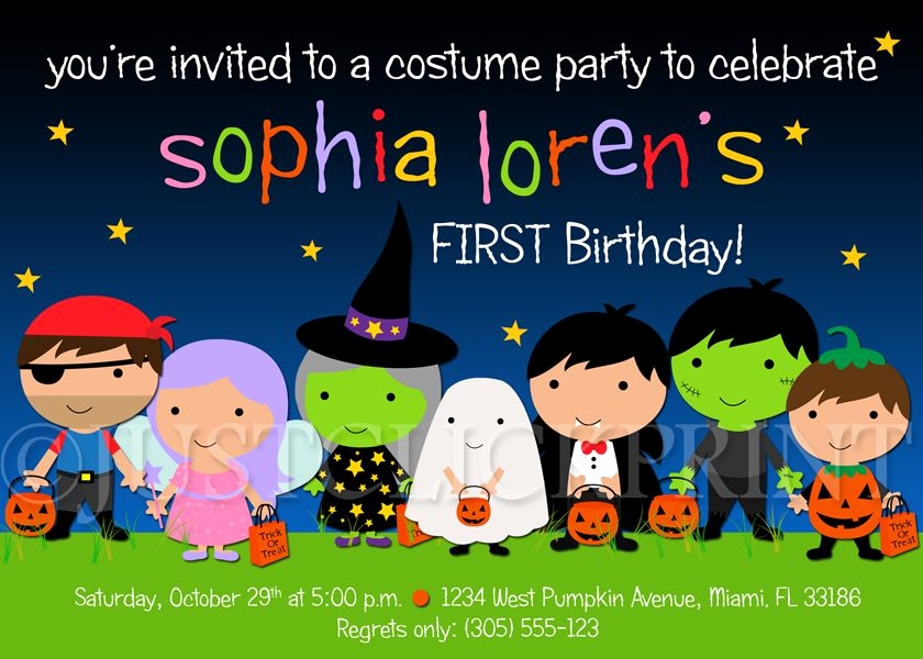 Halloween Costume Party Invitation Beautiful Halloween Kids Birthday Party Invitations