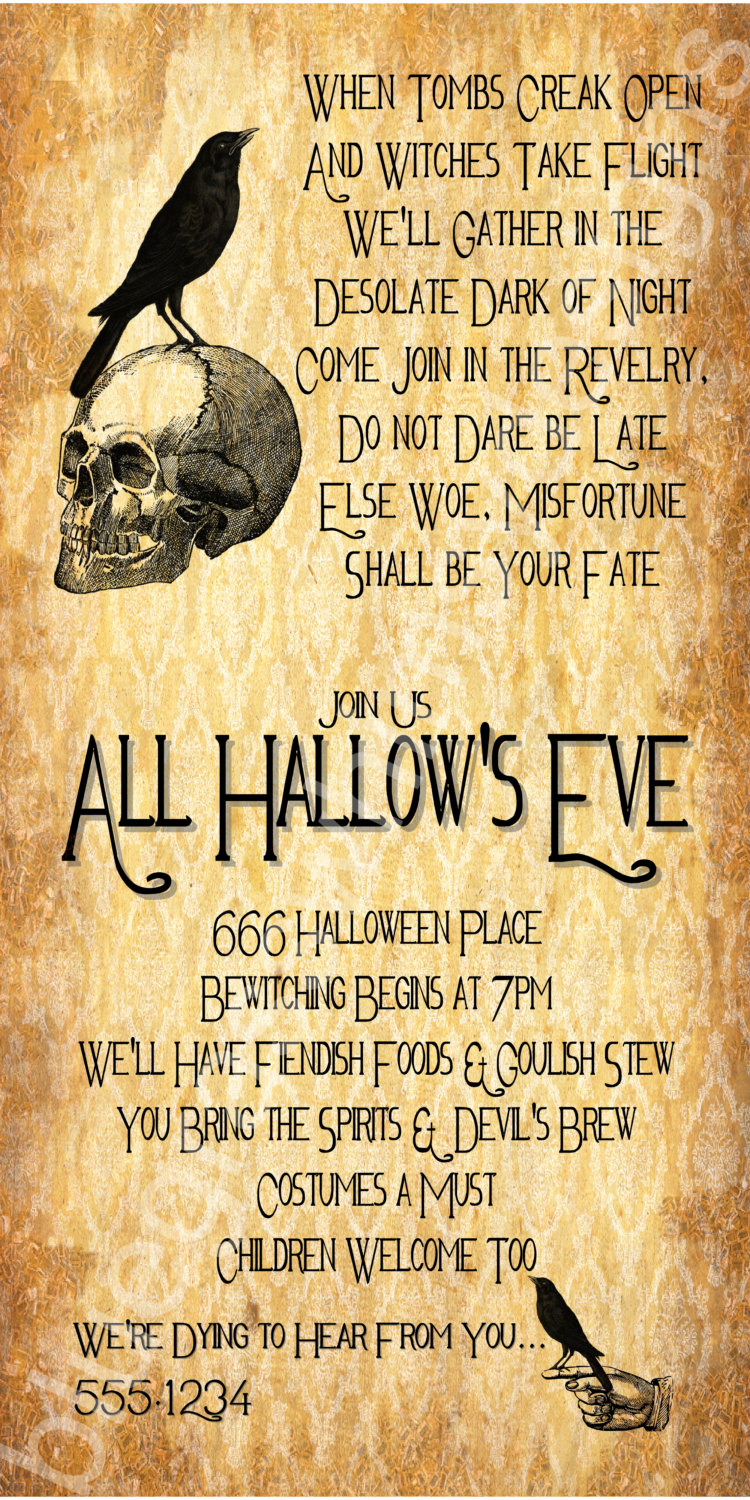 Halloween Costume Party Invitation Best Of All Hallow S Eve Halloween Party Invitation 4x8 5x7 4x6