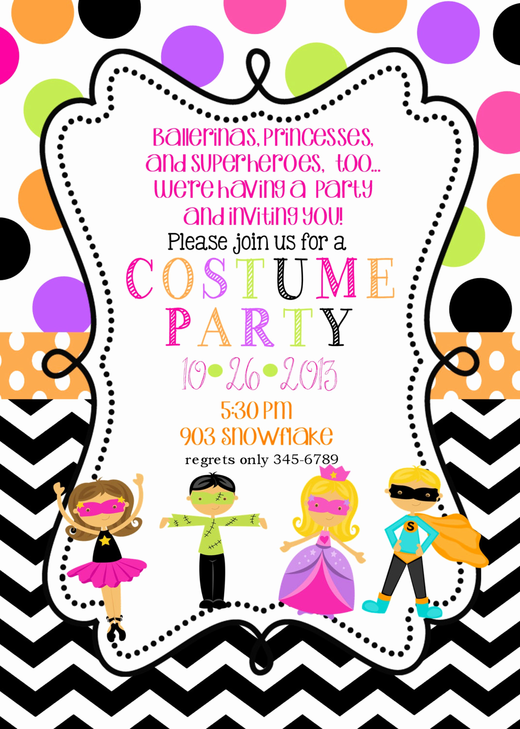 Halloween Costume Party Invitation Best Of Costume Birthday Party Invitations Printable or Digital File