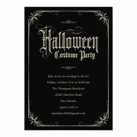 Halloween Costume Party Invitation Best Of Vintage formal Halloween Costume Party Invitations