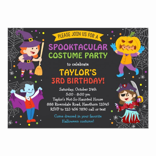 Halloween Costume Party Invitation Fresh Halloween Birthday Invitation Costume Party Kids Card