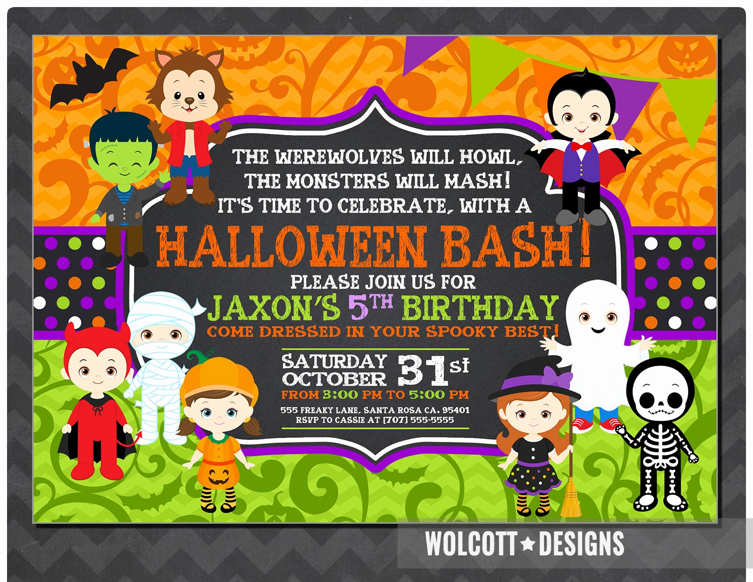 Halloween Costume Party Invitation Luxury Halloween Birthday Invitation Kids Halloween Party