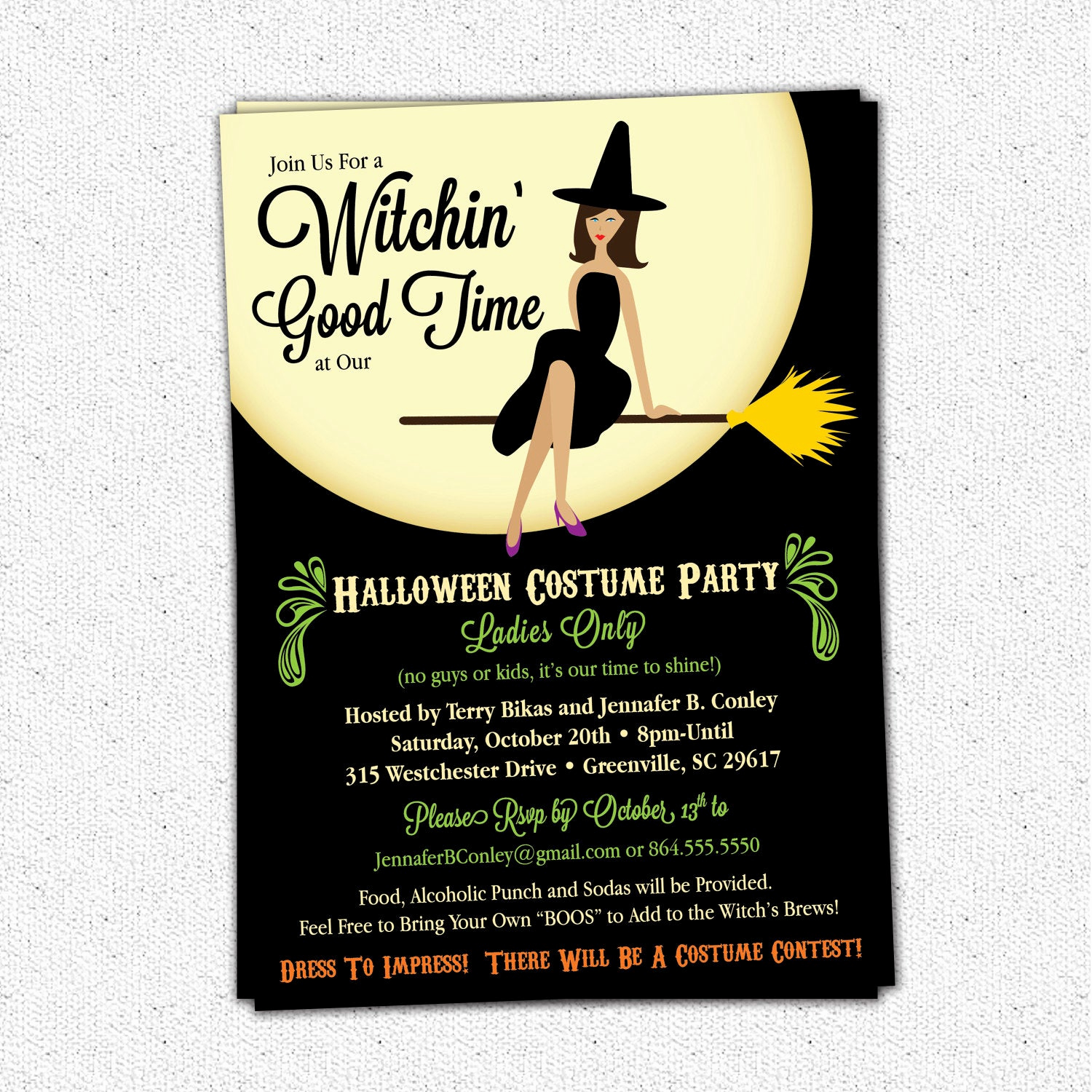 Halloween Costume Party Invitation Luxury Witch Halloween Invitation Witching Bewitched Girl S