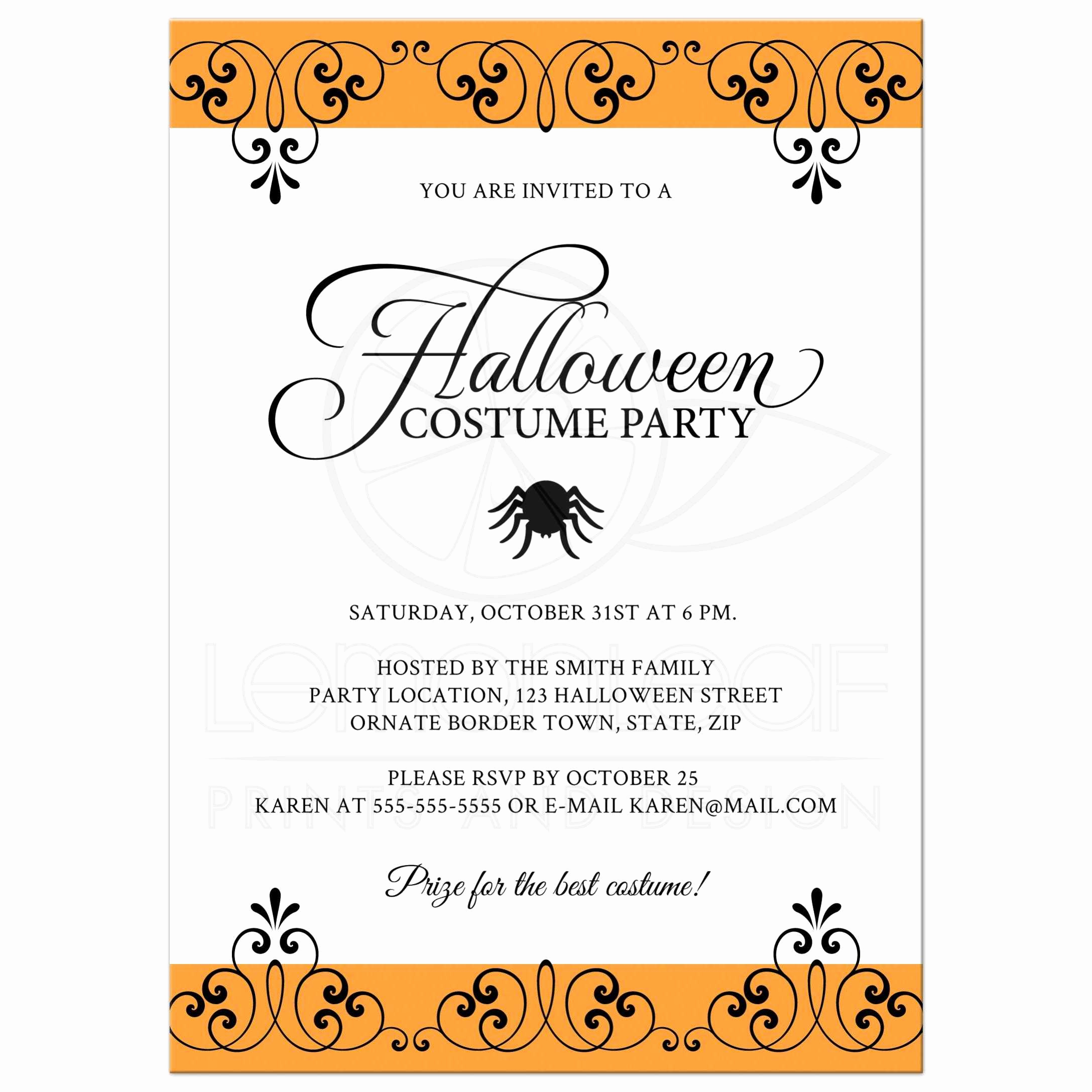 Halloween Costume Party Invitation New Halloween Costume Party Invitation with ornate Black and