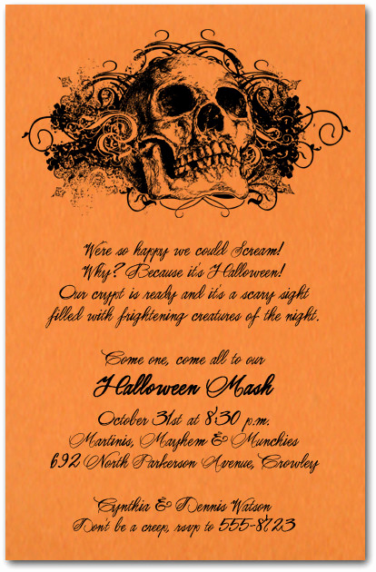 Halloween Invitation Wording Adults Awesome Grunge Skull On orange Halloween Party Invitations