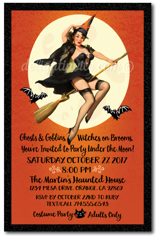 Halloween Invitation Wording Adults Beautiful Pin Up Witch Halloween Party Invitations Vintage