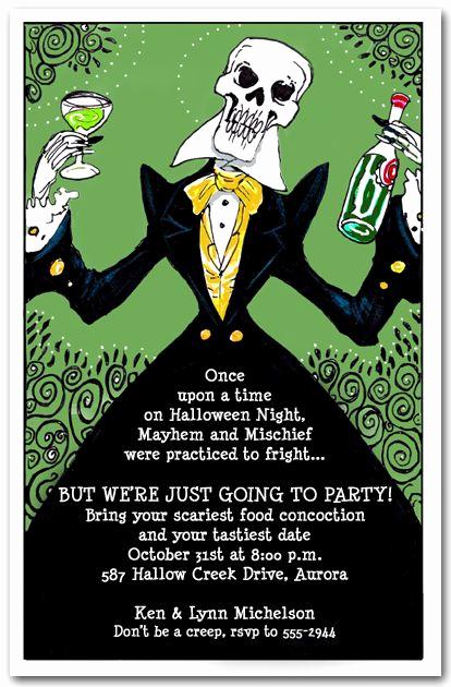 Halloween Invitation Wording Adults Elegant Elegant Skeleton Fall
