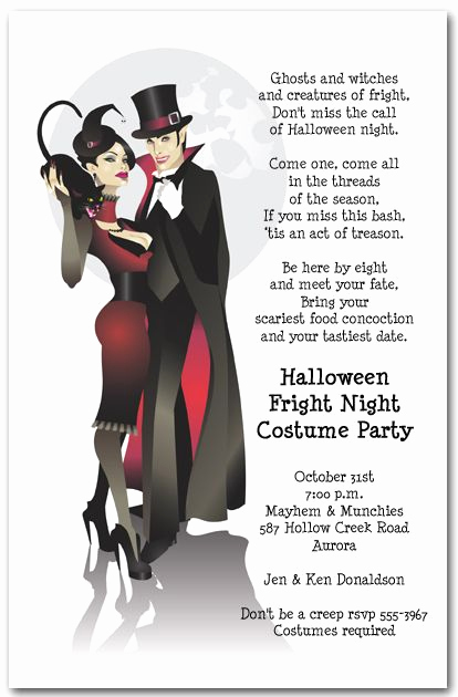 Halloween Invitation Wording Adults Elegant Sinister Couple Fall