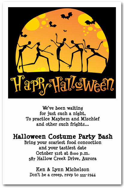Halloween Invitation Wording Adults Lovely Moonlight Skeleton Dance Halloween Party Invitations