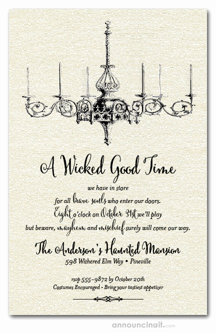 Halloween Invitation Wording Adults New Shimmery White Vintage Chandelier Halloween Party Invitations