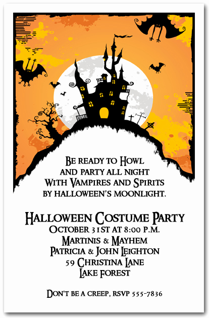 Halloween Party Invitation Templates Awesome Haunted House On Hill Halloween Party Invitations