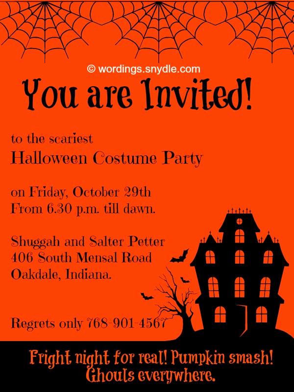 Halloween Party Invitation Wording Fresh Wording Snydle