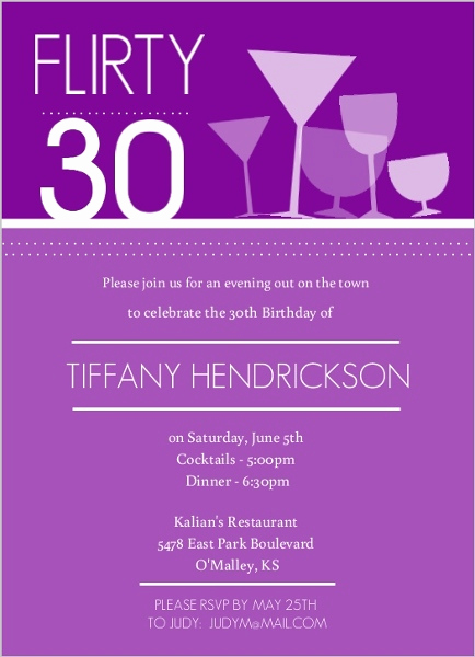 Happy Hour Invitation Email Awesome Purple Happy Hour Drinks Birthday Invitation