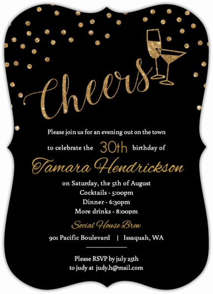 Happy Hour Invitation Email Best Of Faux Gold Glitter Cheers Glitter Birthday Invitation