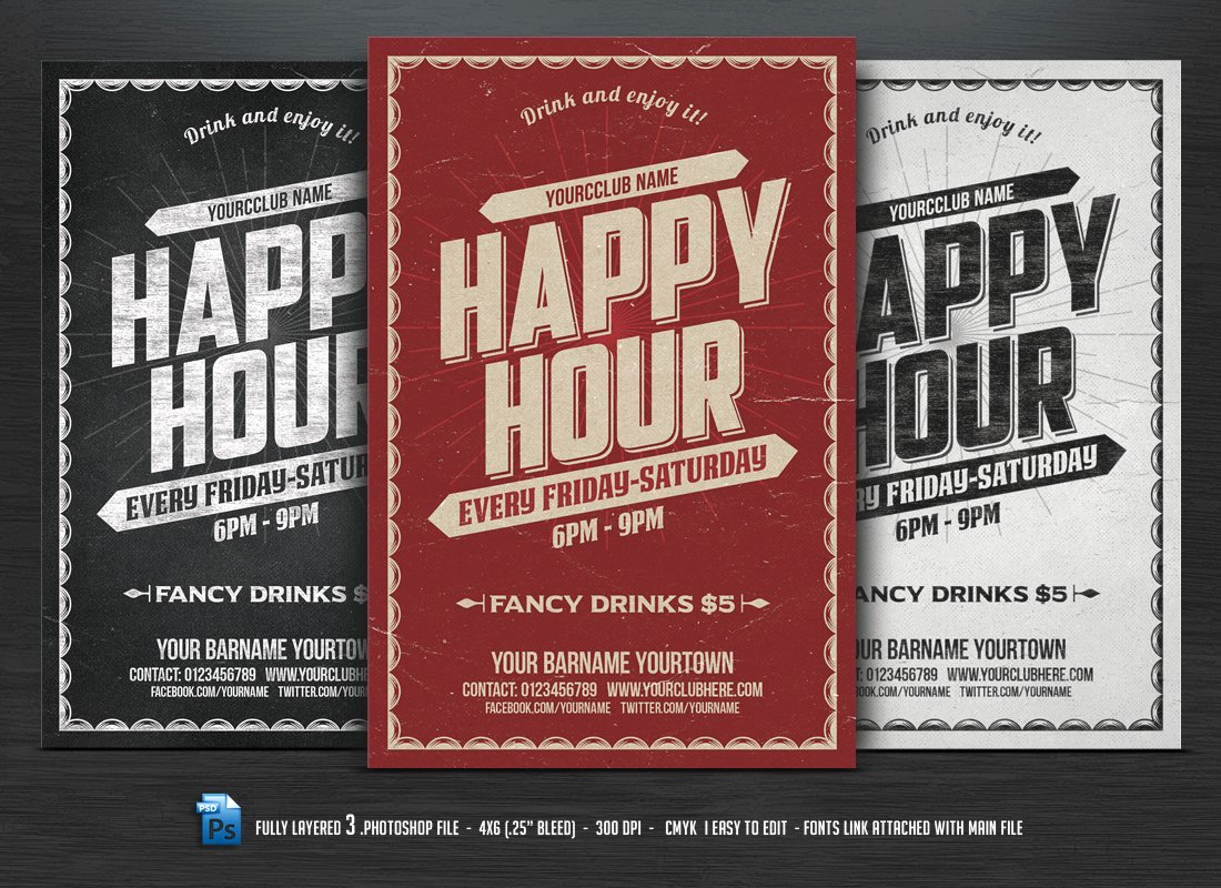 Happy Hour Invitation Email Fresh Happy Hour Flyer Flyer Templates Creative Market