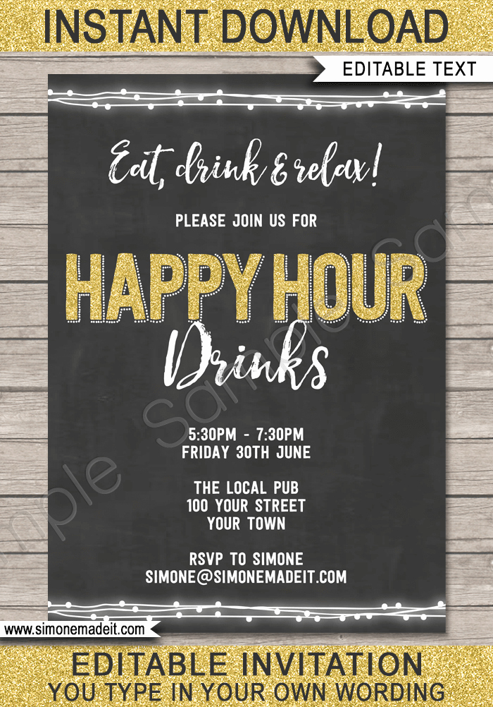 Happy Hour Invitation Email Luxury Chalkboard Happy Hour Invitation Template