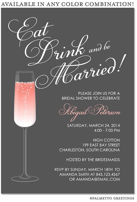 Happy Hour Invitation Email New Printable Eat Drink and Be Married Happy Hour Champagne