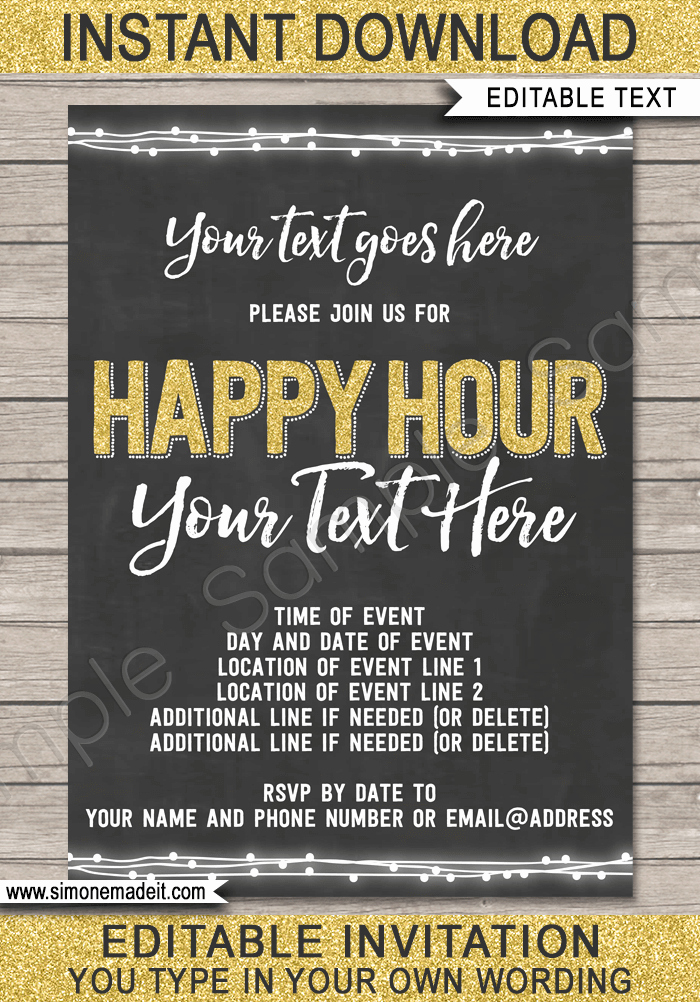 Happy Hour Invitation Wording Inspirational Chalkboard Happy Hour Invitation Template