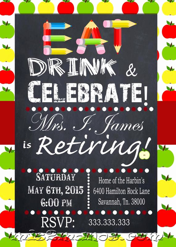 Happy Hour Invitation Wording New Teacher Retirement Education Retiring Invitation Personalized