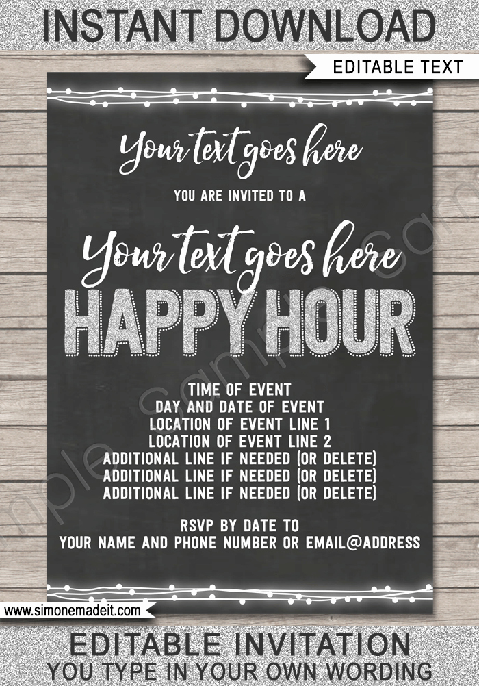 Happy Hour Invitation Wording Unique Happy Hour Invite Template