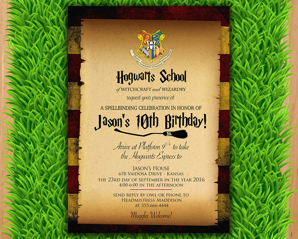Harry Potter Birthday Invitation Best Of Harry Potter Invitation Magical Birthday Invitation Party