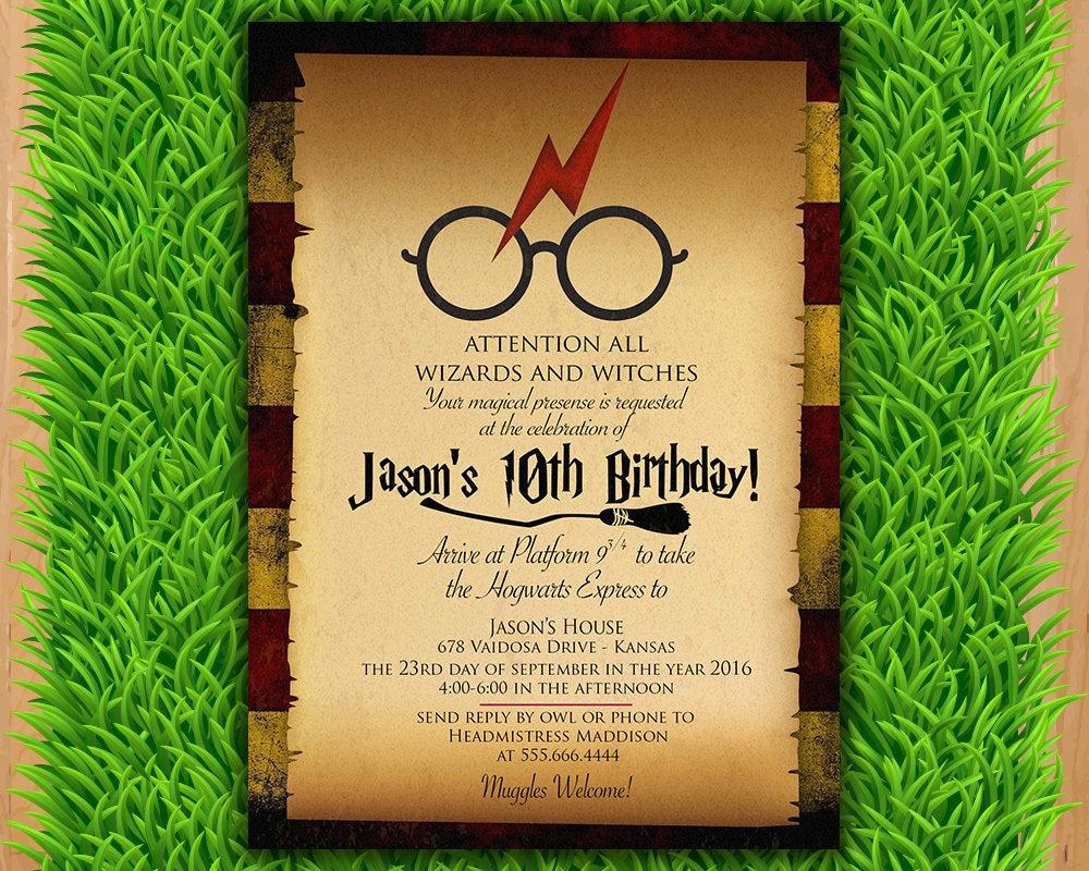 Harry Potter Birthday Invitation Elegant Harry Potter Invitation Magical Birthday Invitation Party