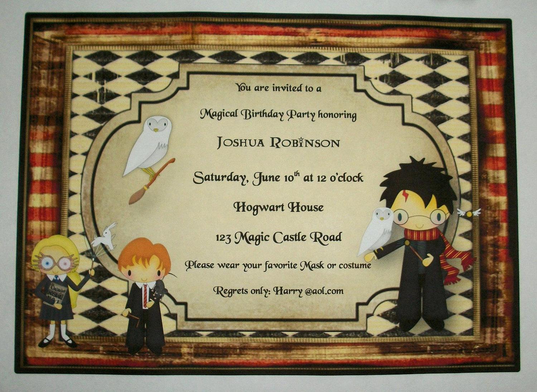 Harry Potter Birthday Invitation Inspirational Harry Potter Wizards Birthday Party Custom Invitations