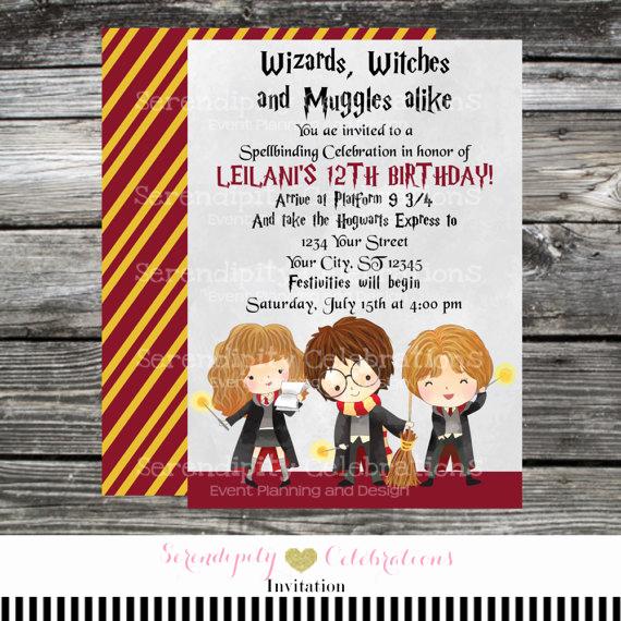 Harry Potter Birthday Invitation Lovely Printed Birthday Invitation Harry Potter Harry Potter
