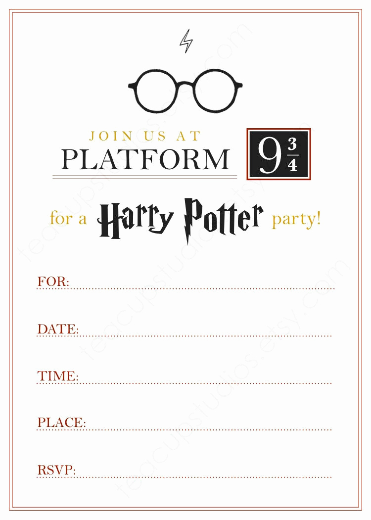 Harry Potter Birthday Invitation Template Beautiful Printable Harry Potter Invitation Pdf