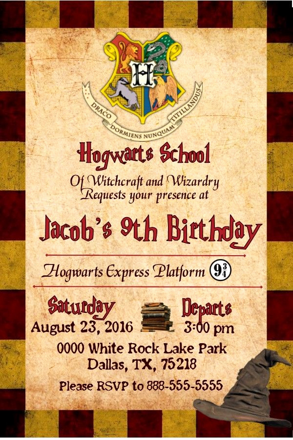 Harry Potter Birthday Invitation Template Elegant Harry Potter Gryffindor Birthday Invitation Invitacion De
