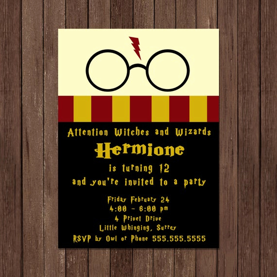 Harry Potter Birthday Invitation Template Luxury Harry Potter Birthday Invitation Gryffindor Digital File