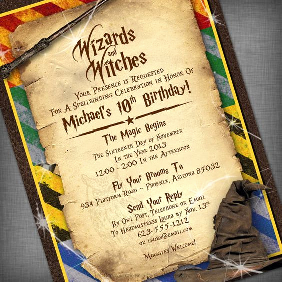 Harry Potter Birthday Invitation Wording Awesome themed Parties Birthday Invitations and Wizards On Pinterest