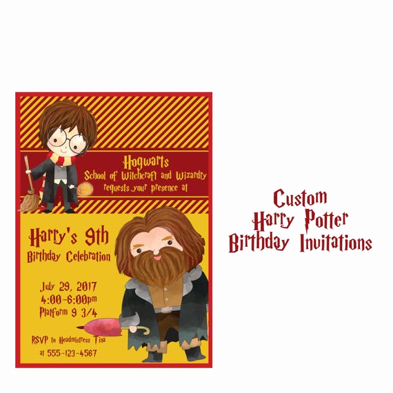 Harry Potter Birthday Invitation Wording Beautiful Harry Potter Invitation Custom Wizard and Witches