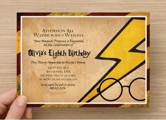 Harry Potter Birthday Invitation Wording Beautiful Harry Potter Invitation Magical Party Digital File