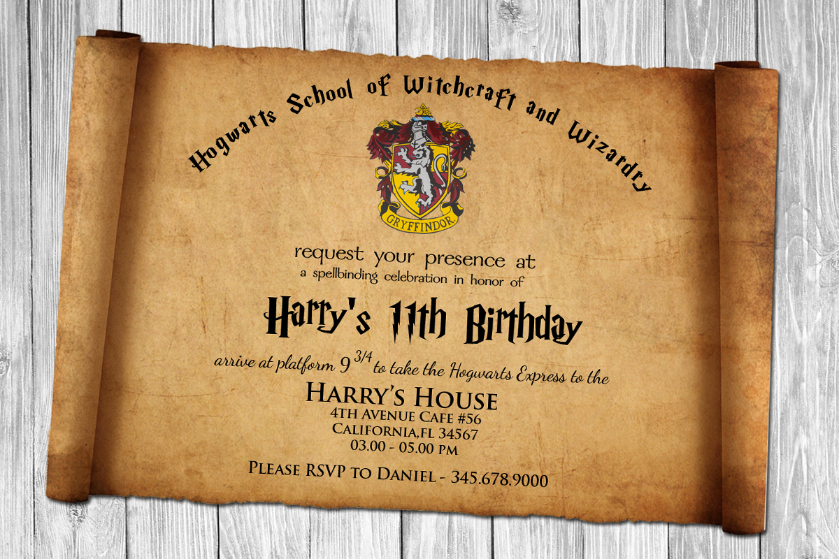 Harry Potter Birthday Invitation Wording Beautiful Harry Potter Papyrus Style Birthday Invitation Psd