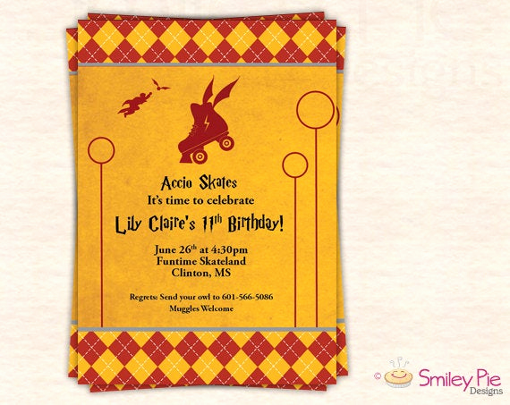 Harry Potter Birthday Invitation Wording Beautiful Harry Potter Skate Party Invitation Gryffindor