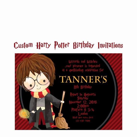 Harry Potter Birthday Invitation Wording Best Of Harry Potter Invitation Custom Wizard and Witches