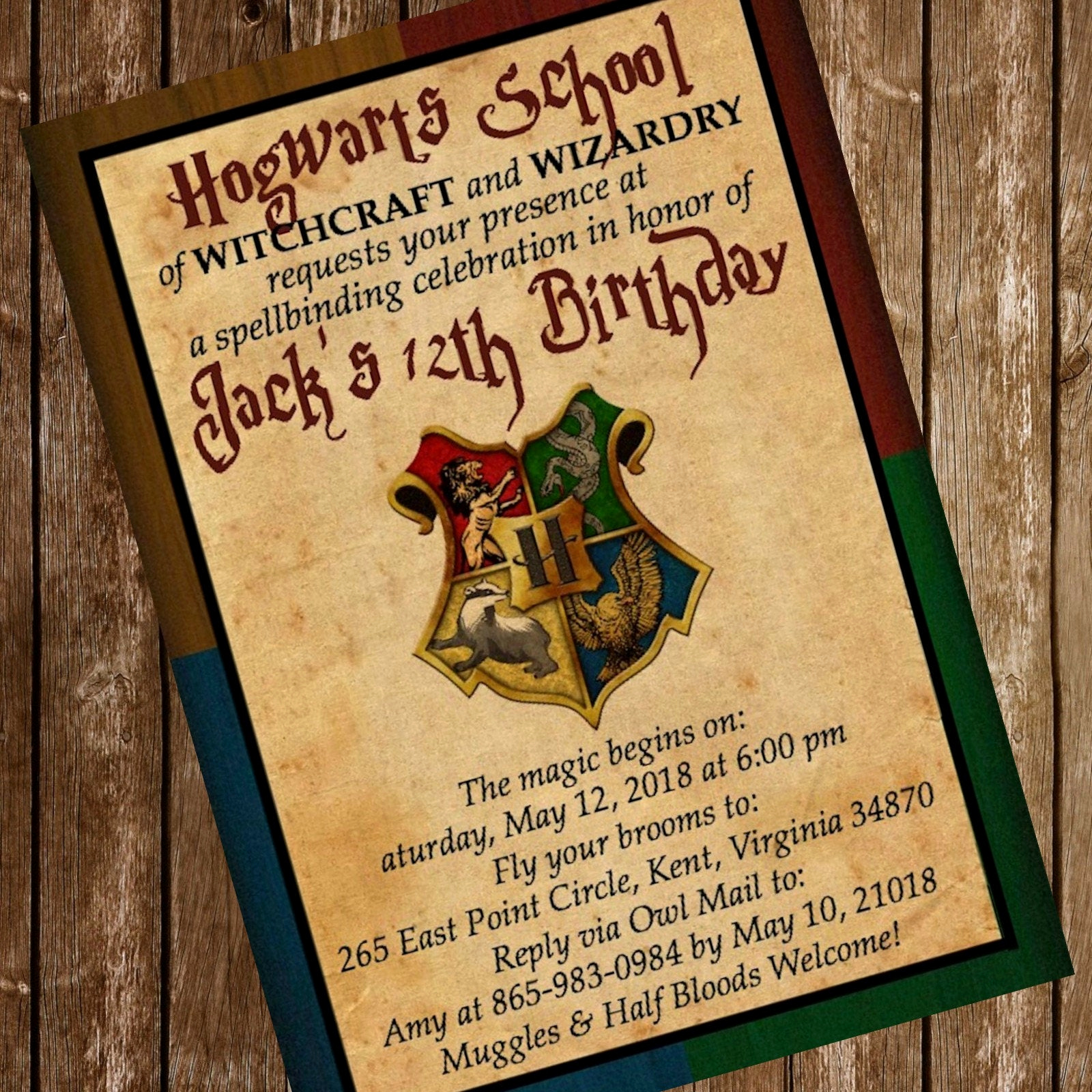 Harry Potter Birthday Invitation Wording Elegant Harry Potter Hogwarts Birthday Party Invitation Download 4 X 6