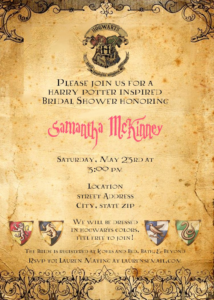 Harry Potter Birthday Invitation Wording Fresh Harry Potter Bridal Shower Invitation