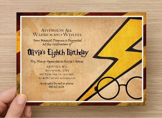 Harry Potter Birthday Invitation Wording Fresh Harry Potter Invitation Magical Party Digital File by