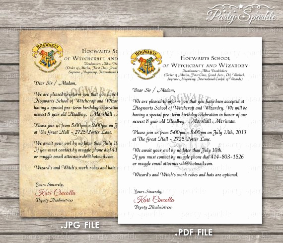 Harry Potter Birthday Invitation Wording Lovely Printable Hogwarts Acceptance Letter Invitation by
