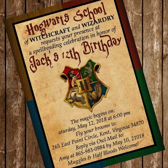 Harry Potter Birthday Invitation Wording Luxury Harry Potter Hogwarts Birthday Party Invitation Download 4 X 6
