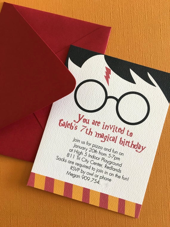 Harry Potter Birthday Invitation Wording New Harry Potter themed Birthday Party Invitation Magic Witch