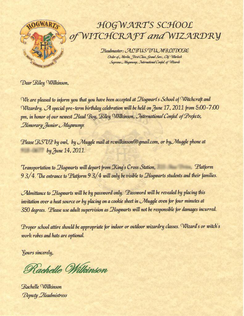 Harry Potter Birthday Party Invitation Beautiful Wilkinsonquints Riley S Harry Potter Birthday