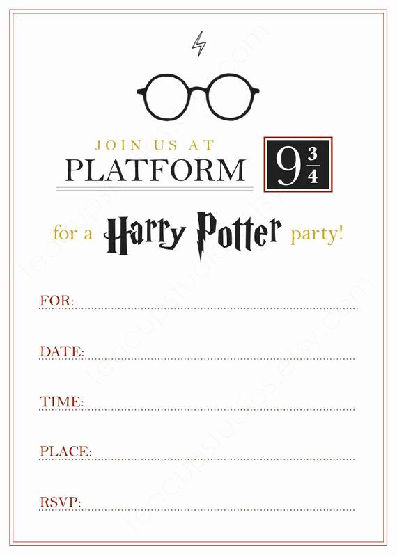 Harry Potter Birthday Party Invitation Elegant Printable Harry Potter Invitation Pdf