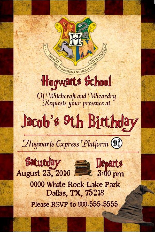 Harry Potter Birthday Party Invitation Inspirational Harry Potter Gryffindor Birthday Invitation Invitacion De