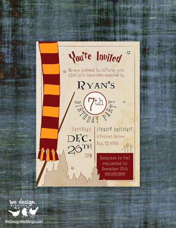 Harry Potter Birthday Party Invitation Inspirational Pin by We Design Weddings On Etsy Listings