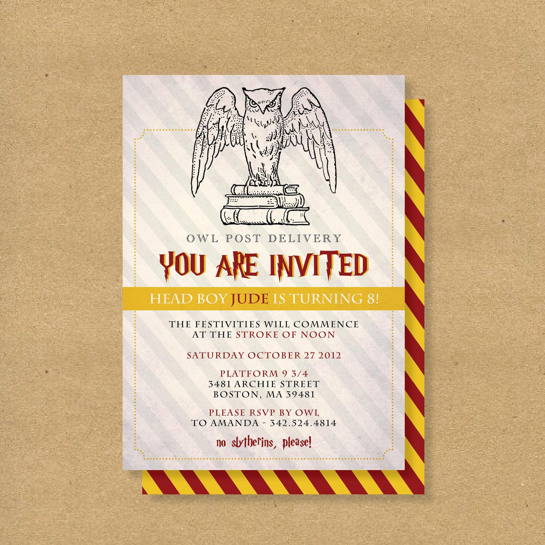 Harry Potter Birthday Party Invitation Inspirational Printable Birthday Invitation Harry Potter Wizard by
