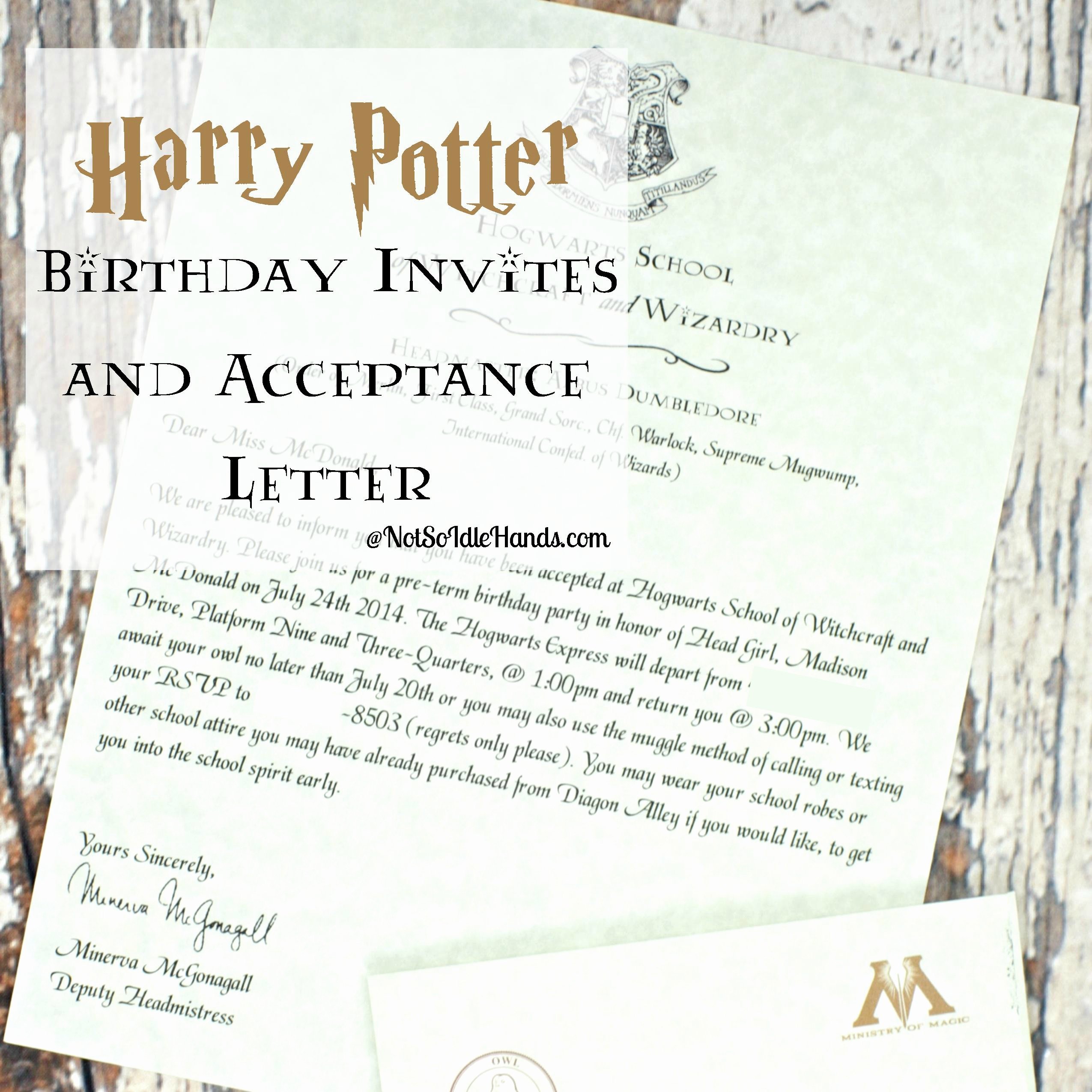 Harry Potter Birthday Party Invitation Lovely Harry Potter Birthday Invitations and Authentic Acceptance